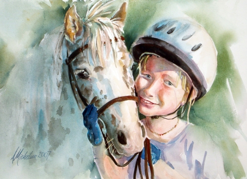 """Willa and Dusty,"" horse and girl portrait"