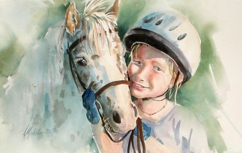 watercolor portrait of child and horse