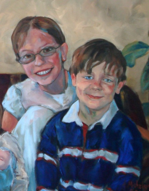 Double oil portrait, boy and girl.