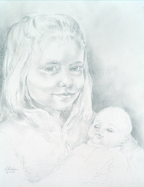 Graphite child portrait, young girl with doll