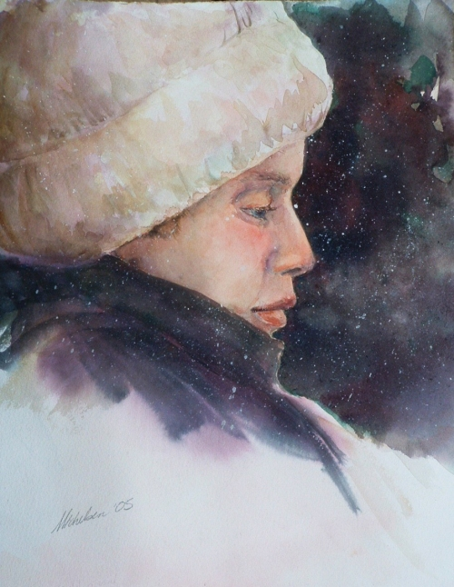 """Winter Reverie,"" watercolor portrait of young boy"