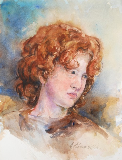 Watercolor life study of youth with red hair