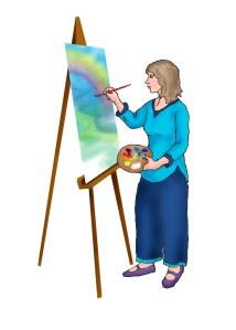 Artist painting rainbow