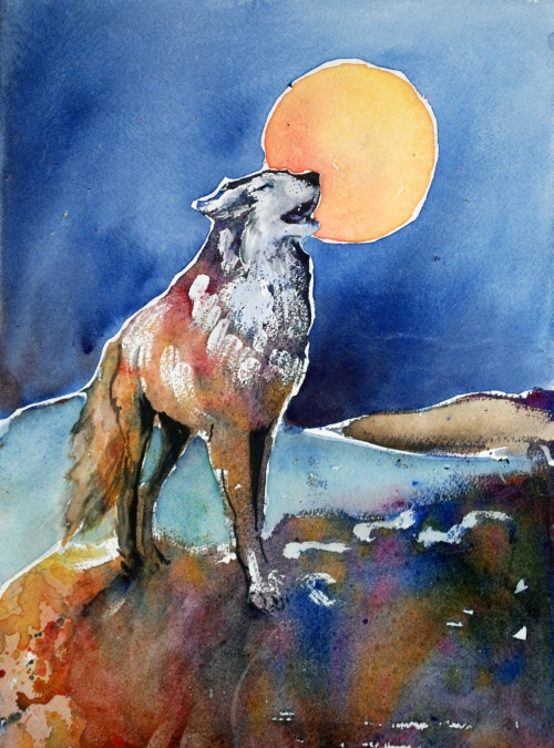 Wolf and Harvest Moon watercolor