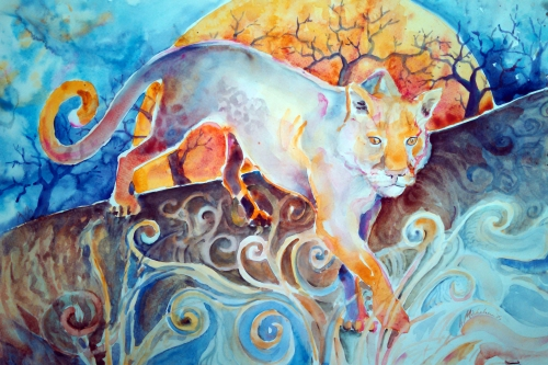 "Watercolor painting ""Sun Panther"""